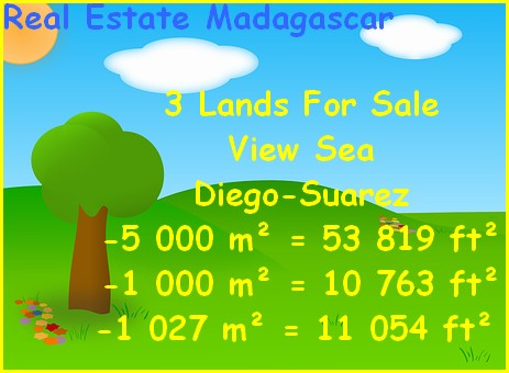 3 Lands Sale Diego-Suarez Sea View
