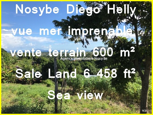 Nosybe Diego Helly sea view impregnable land sale 600m ² = 6458 ft²